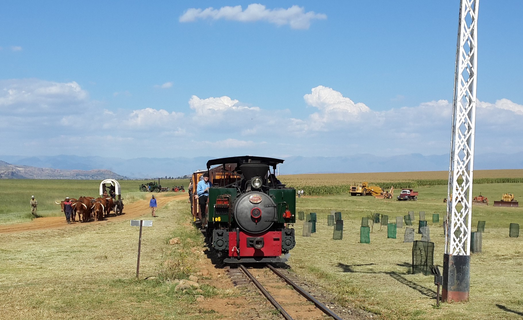 "The 1914 built Fowler, ""Sandy"", arrives at Hoekfontein with an Ox Wagon escort Picture by Dave Richardson"