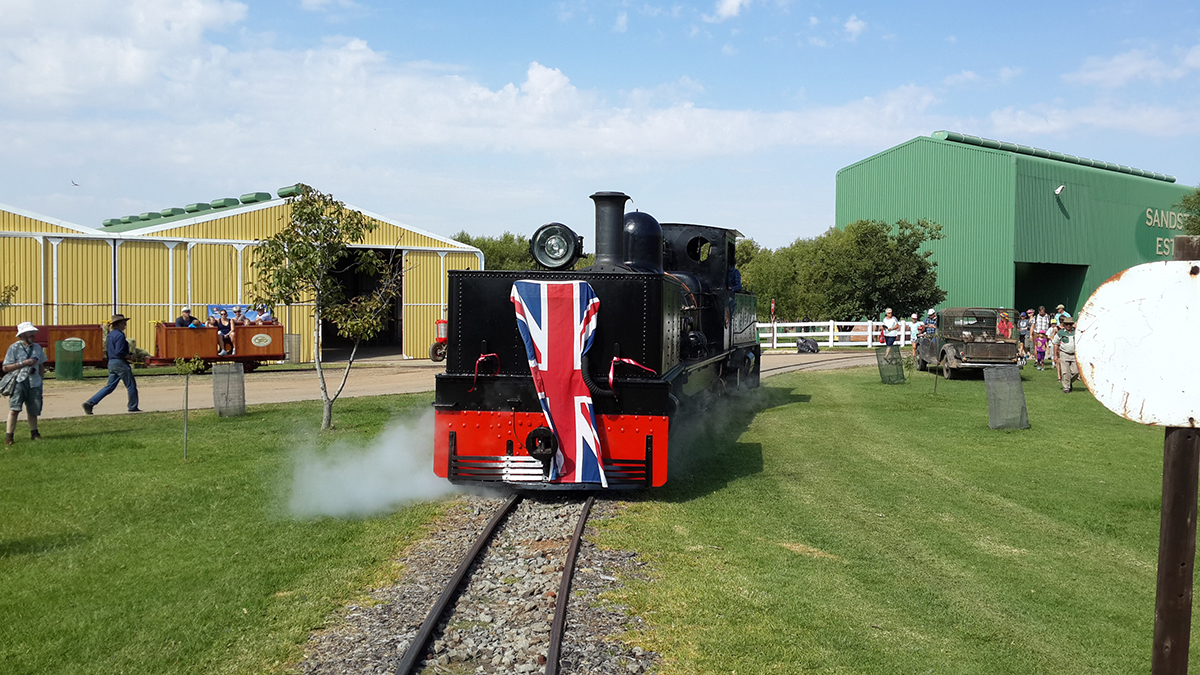 NGG11 52 is draped with the British flag to celebrate its British ancestry as it arrives at Hoekfontein for its launch into service Picture by Dave Richardson