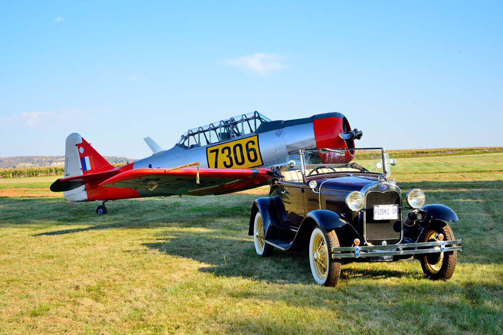 A Harvard trainer and  Model A Ford Picture by Gary McCrystal
