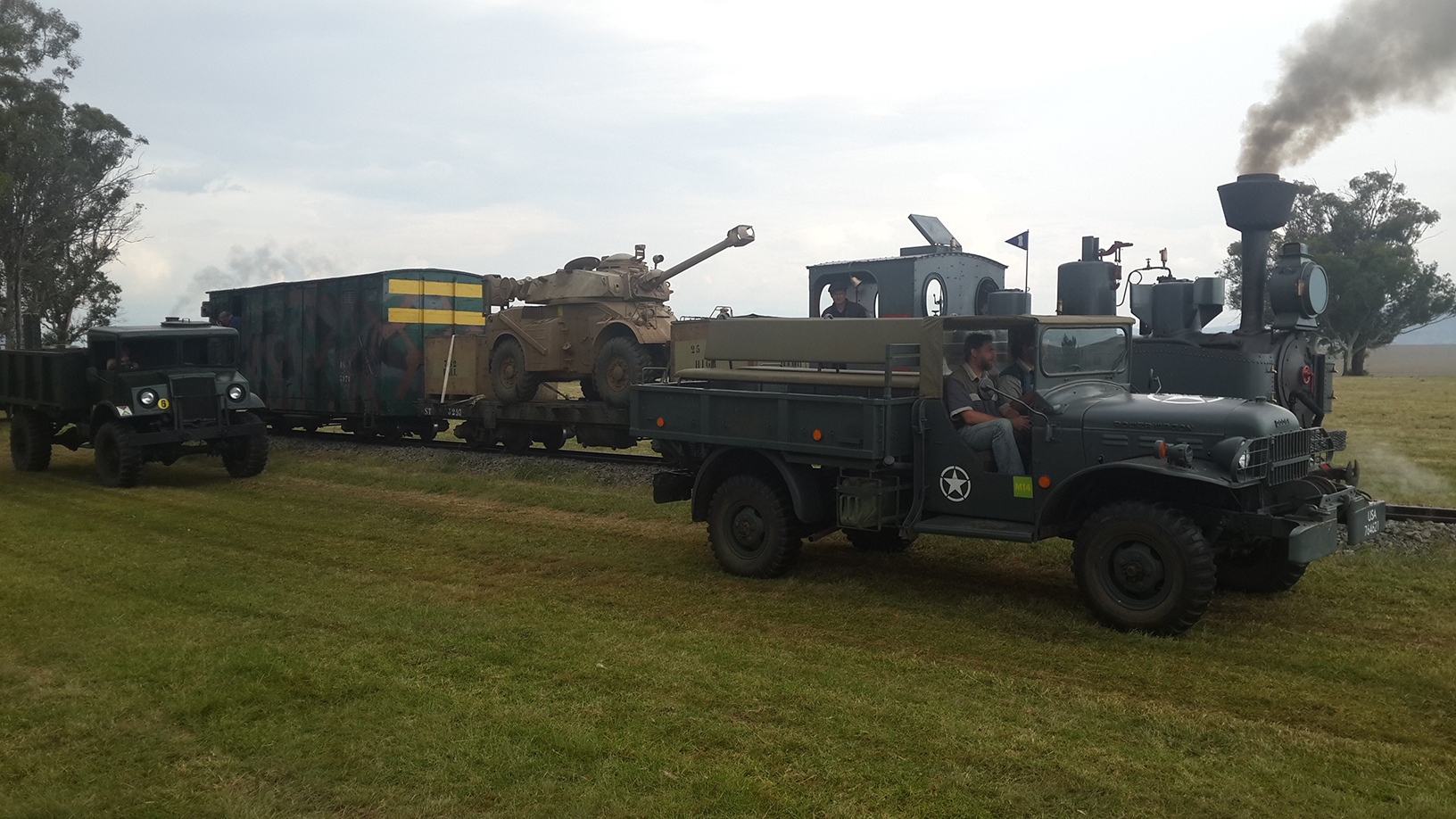 The Dodge Power Wagon passes by as the Feldbahn awaits its turn Picture by Dave Richardson